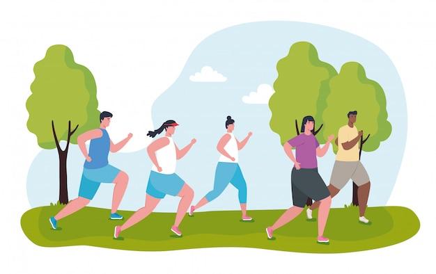 Молодые люди марафонцы бегут спортивные, женщины и мужчины, бегать соревнования или марафон гонки иллюстрации