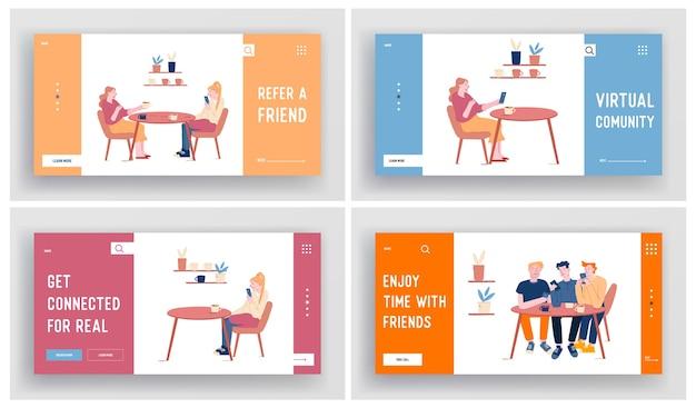 Молодые люди встречаются в кафе, пьют кофе. набор целевой страницы веб-сайта
