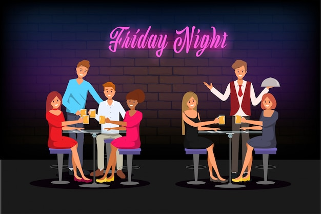 Young people meeting in night club bar cafe and enjoy to party.