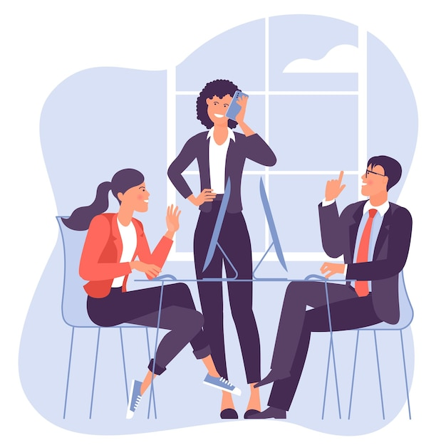 비즈니스 회의에 참여하는 젊은 사람들, 남녀