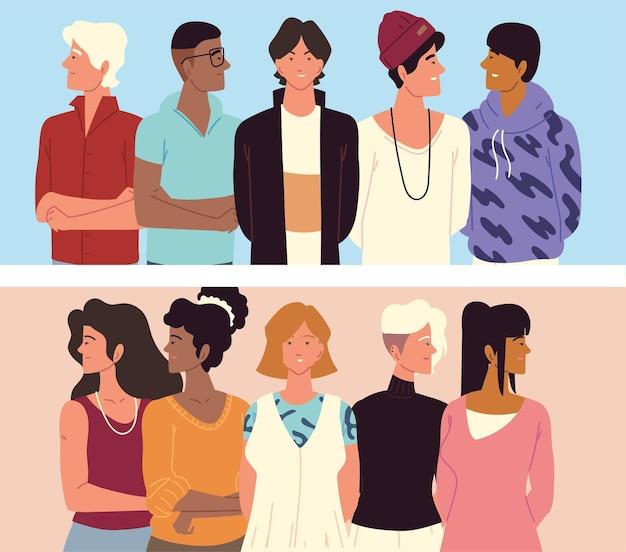 若い人たち男性と女性