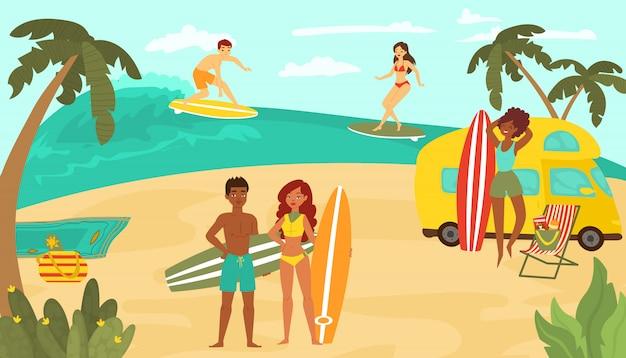 若い人たちの多国籍レース、黒白い女性男性キャラクタートレーニングサーフィン海熱帯ビーチ漫画イラスト。