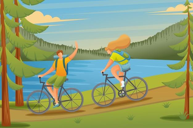 자전거를 타고 젊은 사람들