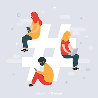 Молодые люди на фоне социальных сетей