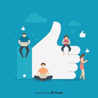 소셜 미디어 배경에서 젊은 이들이