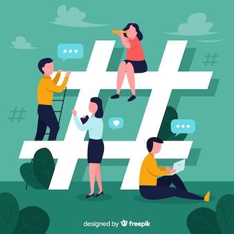 ソーシャルメディアの背景に若い人たち