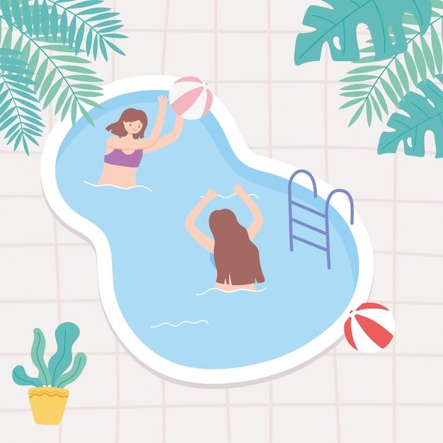 Молодые люди на отдыхе в бассейне играют и плавают