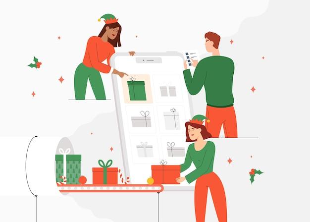 若者やサンタクロースのエルフが注文を取り、プレゼントを差し上げます。休日のギフトのオンラインショッピングの概念。