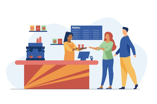 Young people ordering takeaway coffee in cafe. barista, chat, network flat vector illustration. hot beverages and service