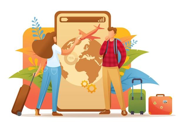젊은이들은 휴가 여행을 계획하고 방향을 선택합니다.