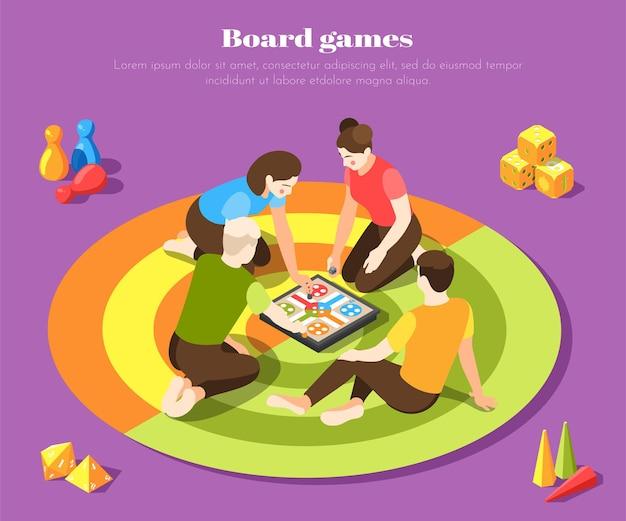 Молодые люди играют вместе с настольной игрой с цветной поверхностью изометрии