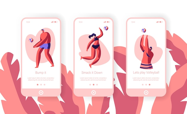 Молодые люди играют в волейбол на пляже, прыгая и ударяя мяч по концепции для веб-сайта или веб-страницы. экран мобильного приложения