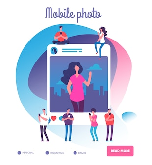 Young people posting self photos concept illustration.