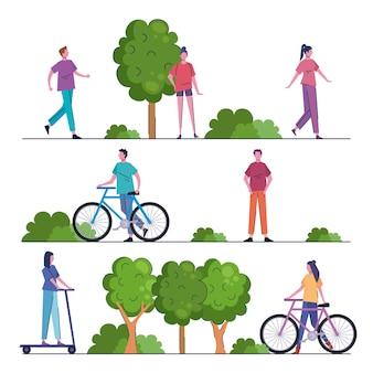 공원 그림에서 활동을 연습하는 젊은 사람들