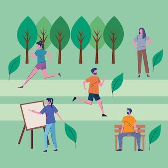 공원 벡터 일러스트 디자인에서 활동을 연습하는 젊은 사람들