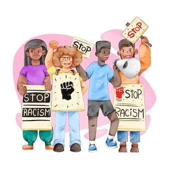 Молодые люди протестуют в концепции уличной дискриминации