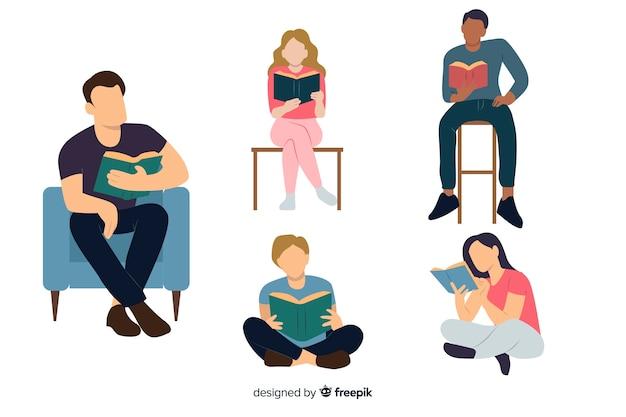젊은 사람들이 책을 읽고