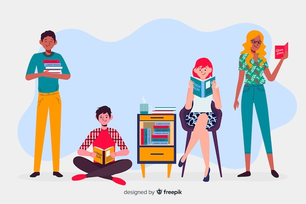 Young people reading a book collection Free Vector