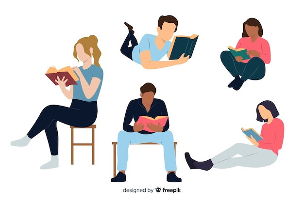 Young people reading a book