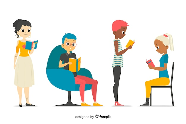 Young people reading collection