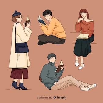 韓国の描画スタイルで読んでいる若者