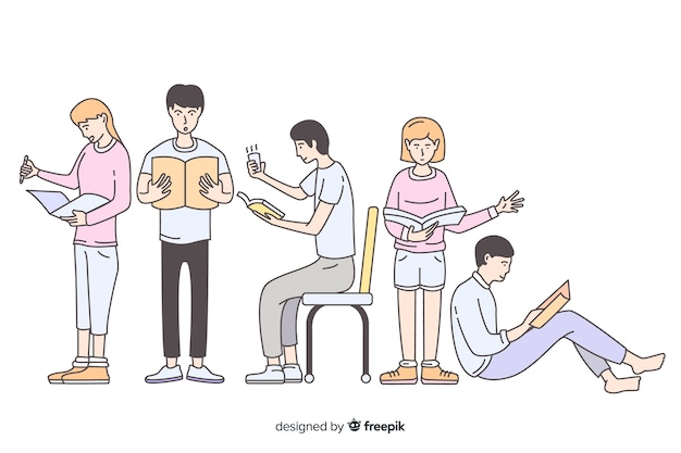 Young people reading in korean drawing style