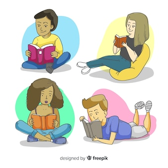 Young people reading together illustrated