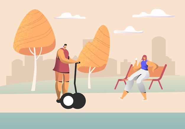 Young people relaxing in city park at summertime concept illustration