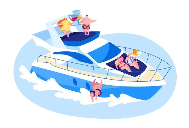 海で豪華ヨットでリラックスする若者
