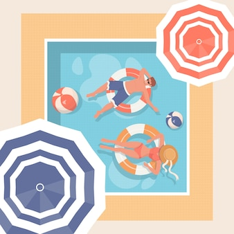 Young people relaxing in swimming pool. summer hot day  illustration