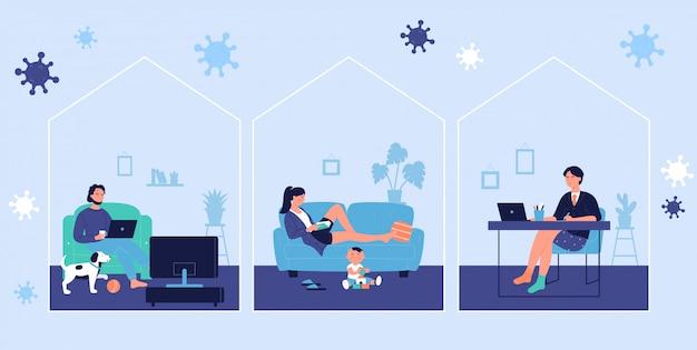コロナウイルスcovid19時間のコンセプトシーンの間に若者が自宅で休んでオンラインで作業しています。男と女は家にいてコロナウイルス病を予防し、隔離された自己隔離の図