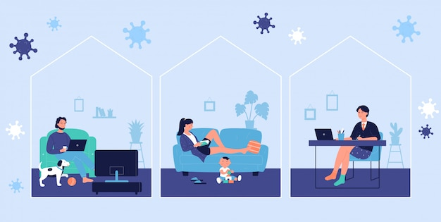 Young people resting and working online at home during coronavirus covid19 time concept scenes. man and woman stay at home to prevent coronavirus disease, quarantine self isolation illustration