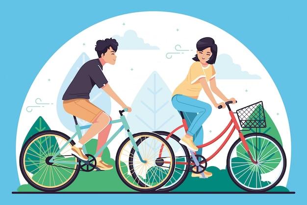 Молодые люди езда велосипедов иллюстрации фона