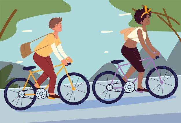 Молодые люди на велосипедах