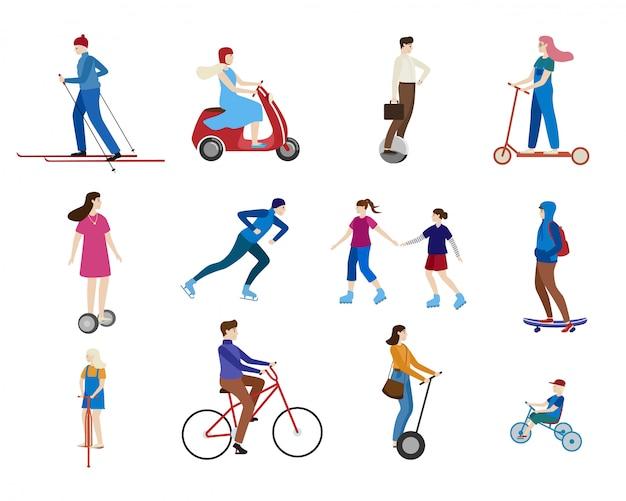 Молодые люди езда скутер, коньки на спорт транспорта открытый характер здорового мультфильма, изолированные на белом.