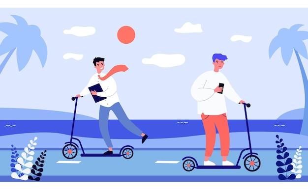 Молодые люди на скутерах плоские векторные иллюстрации. офисный работник в галстуке и подросток с яркими волосами, использующий скутер в качестве транспортного средства на берегу моря. молодежь, транспорт, курорт, возраст, концепция современности