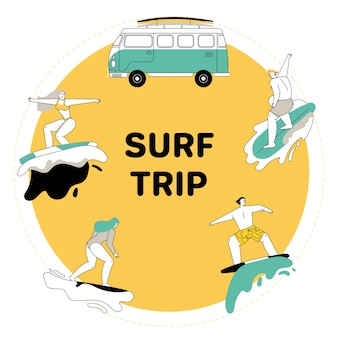 Young people riding on surfboards set. man and woman in swimsuit rides surf boards on ocean waves. vintage camper van