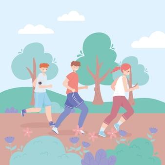 Молодые люди бегут