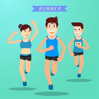 Young people running and training for marathon sport
