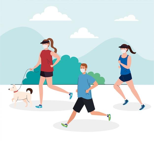 Молодые люди бегут в медицинской маске на открытом воздухе, профилактика коронавирусной инфекции 19 Premium векторы