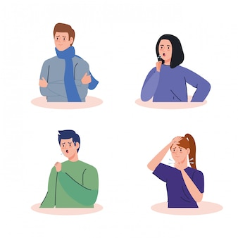 Young people sick avatar characters