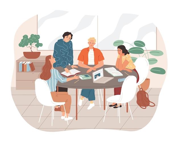 젊은 사람들은 테이블에 앉아 학습.