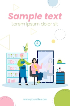 Young people sitting in beauty salon isolated flat illustration