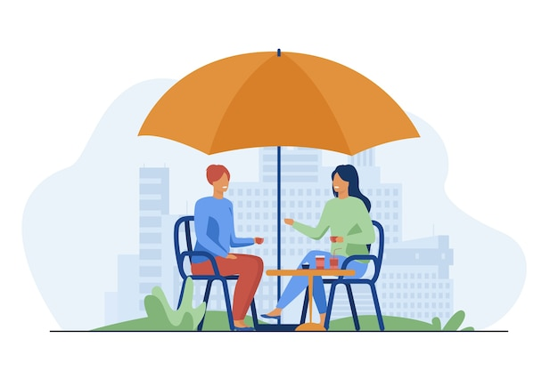 Young people sitting in street cafe and talking. coffee, friend, relaxation flat vector illustration. communication and leisure
