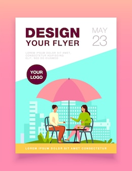 Young people sitting in street cafe and talking flyer template