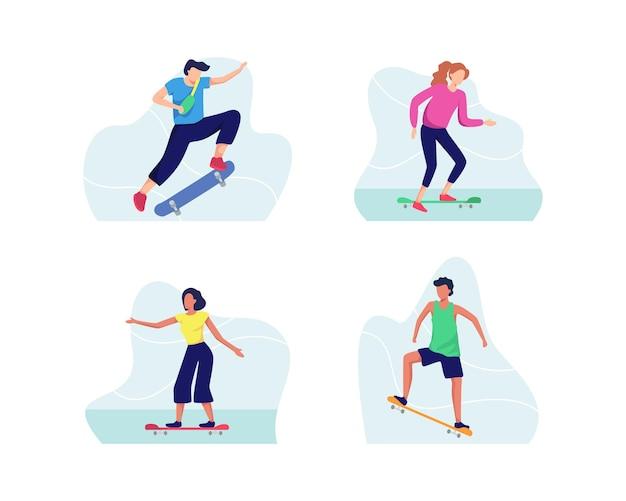 Молодые люди катаются на скейтборде в различных стилях, подростки веселятся на скейтбордах.