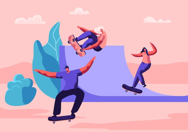 Young people skating longboard in city park. cartoon flat  illustration
