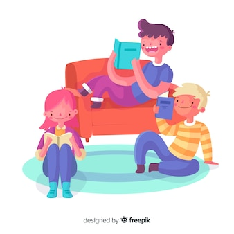 Young people spending time together reading