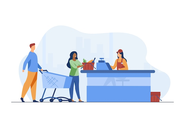 Young people standing near cashier in grocery store. counter, payment, buyer flat vector illustration. food, meal and products
