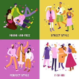 Young people street fashion concept icons set flat